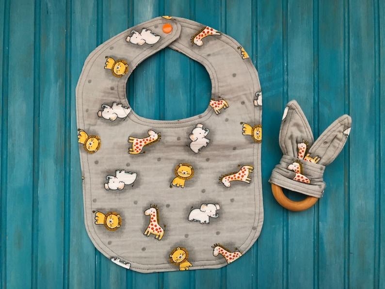 Baby Gift Set Cotton Gauze Bib and Wooden Teether Gray image 0