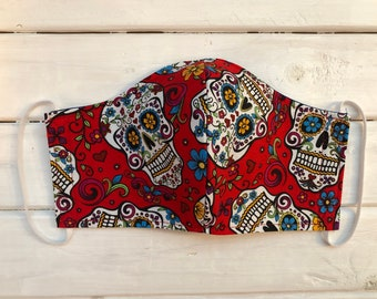 READY TO SHIP- Woman's Two Layer Cotton Mask- Sugar Skulls (Womans size fits teens 13+)