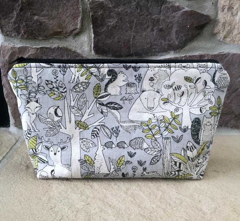 Woodland Animals Make-Up Bag Japanese Imported Fabric image 0