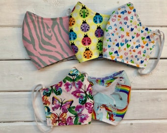 READY TO SHIP- Back To School Bundle- Set of 5 Masks - Children's Cotton Two Layer Mask- Assorted Girls Masks (3-6)
