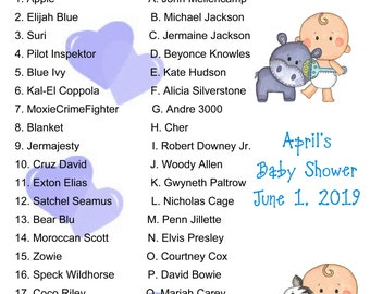 Personalized Baby Shower Animal Baby Name Game Boy Etsy