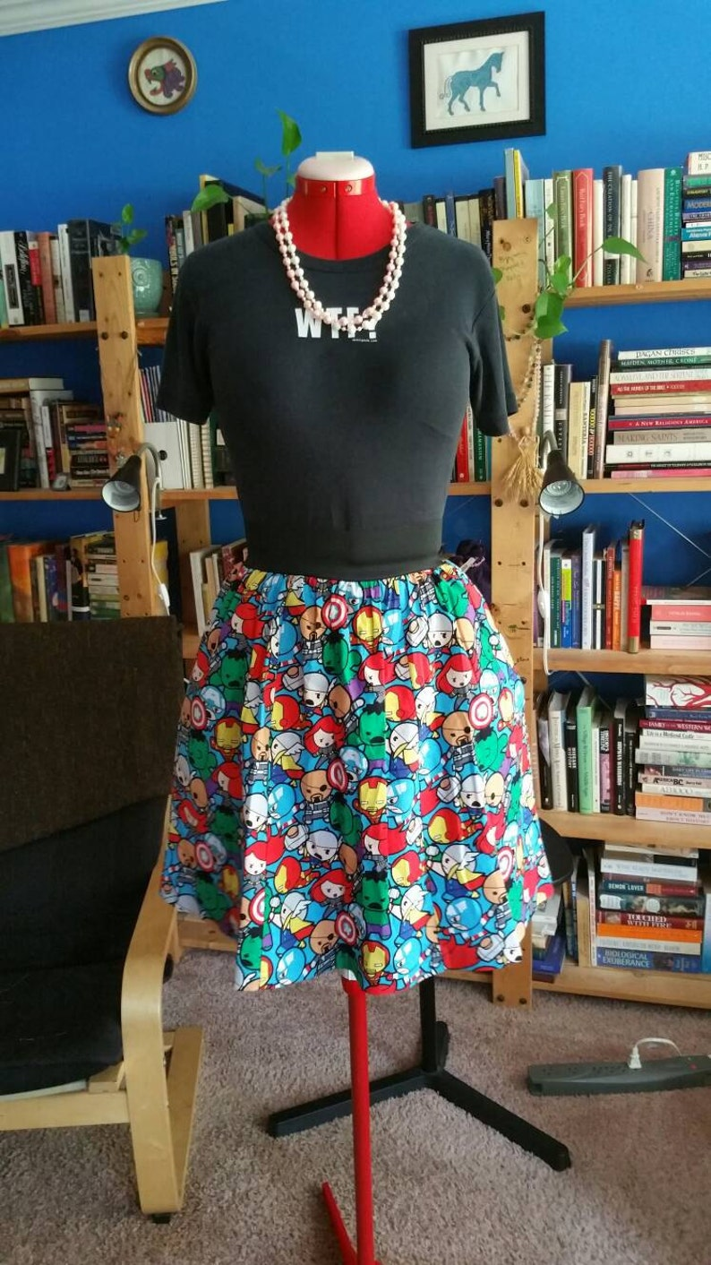 Chibi Avengers Skirt with Pockets image 0