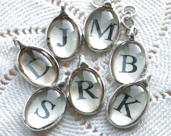 Hand Soldered Initial Charms with Dictionary Prints - Letter charms - initial Pendant - letter focal