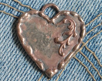 Soldered art Heart Pendant - Lg Charm - Copper filagree