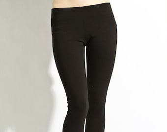 """Leggings Cotton Black - Premium Stretch Soft Pants  26"""" Made in USA, black leggings, womens leggings, leggings, yoga"""