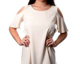 f2b3e221 Womens Organic Cotton Shirt, Open Shoulder Gots Certified Organic Cotton  Top, Cold Shoulder, Off The Shoulder Womens Eco Friendly