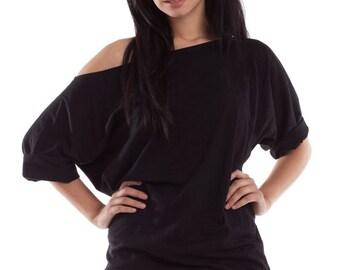 Off The Shoulder Top, oversized off shoulder tee, womens off the shoulder shirt, off the shoulder, one shoulder tshirt, xlarge shirt