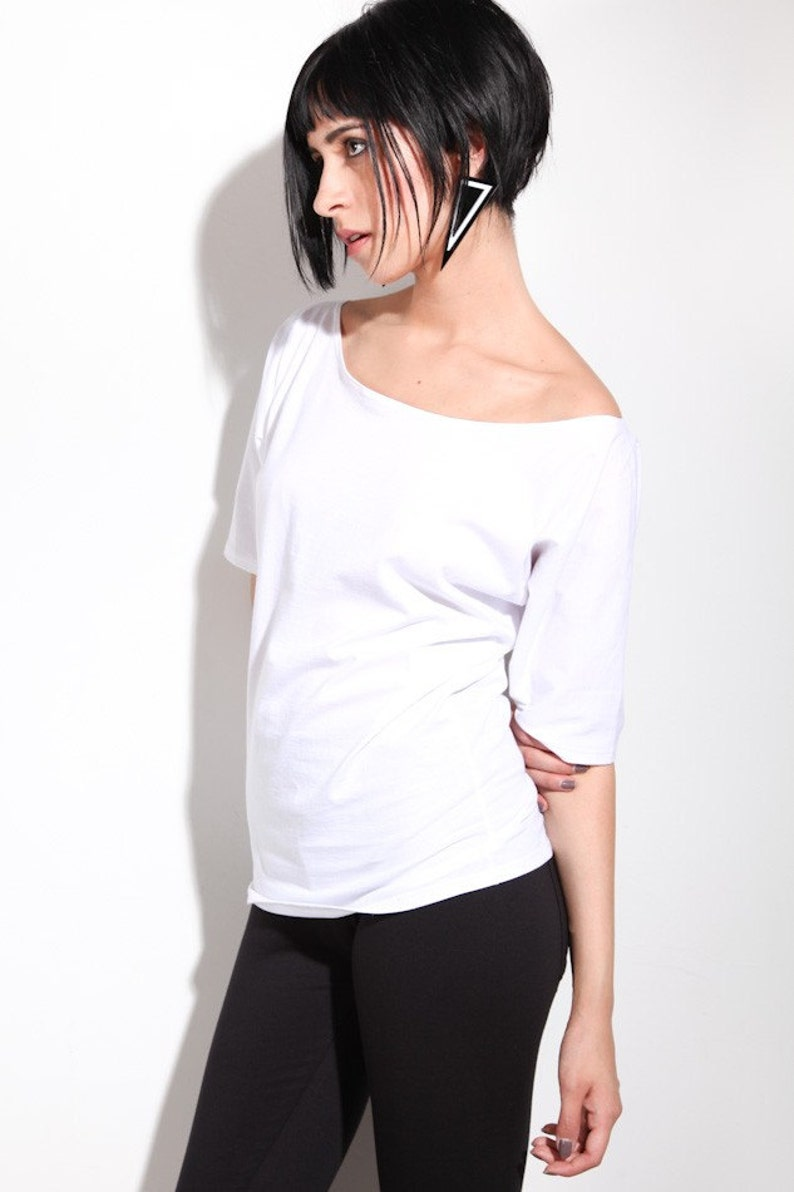 f96a3dbe816690 Womens Shirt Slouchy Off Shoulder Top White Small Medium Large