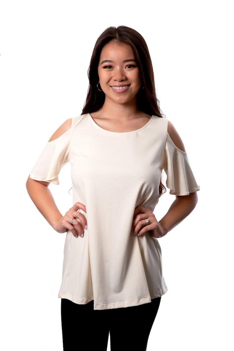 Womens Organic Cotton Shirt Open Shoulder Gots Certified image 0