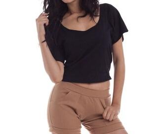 Essential Crop Top Tee, Cotton Tshirt, Womens Cotton Shirts, Croptop, Mini shirts, Tuck in Tops, Black Cotton shirts, Basics Shirts,