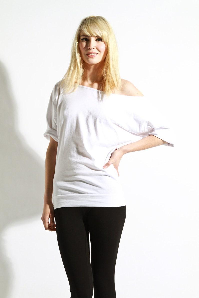 2de6940b3ea Off The Shoulder Top Oversized Cotton Shirt Womens Tee | Etsy