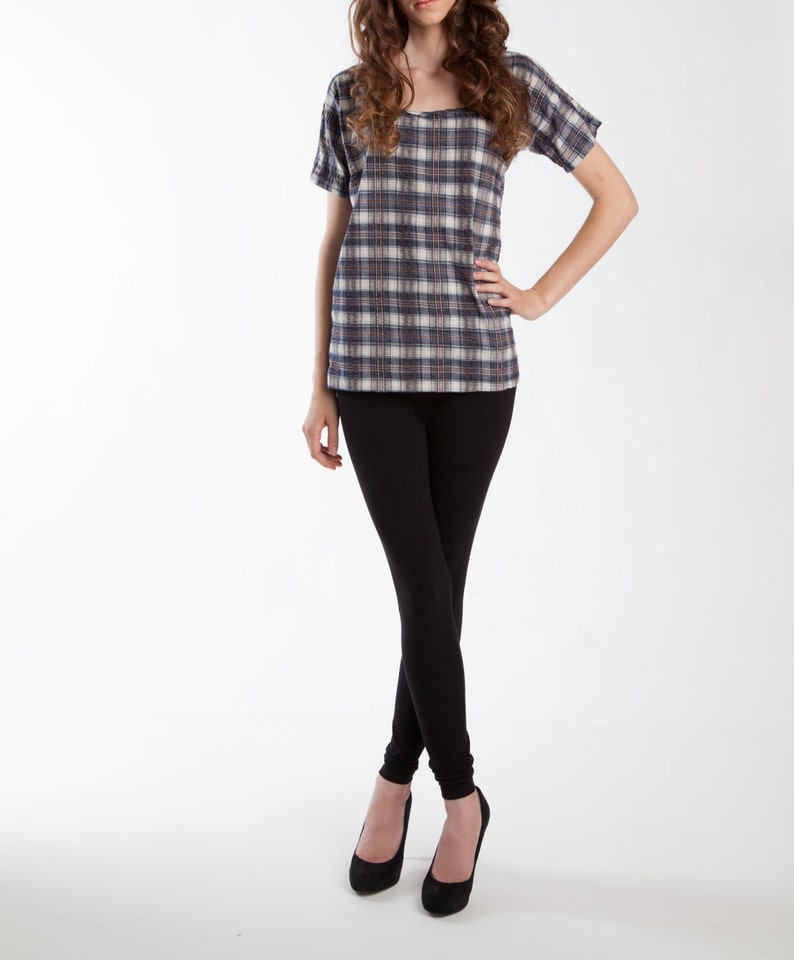 Limited Edition Plaid Oak Top Cotton Tops Womens Shirts image 0