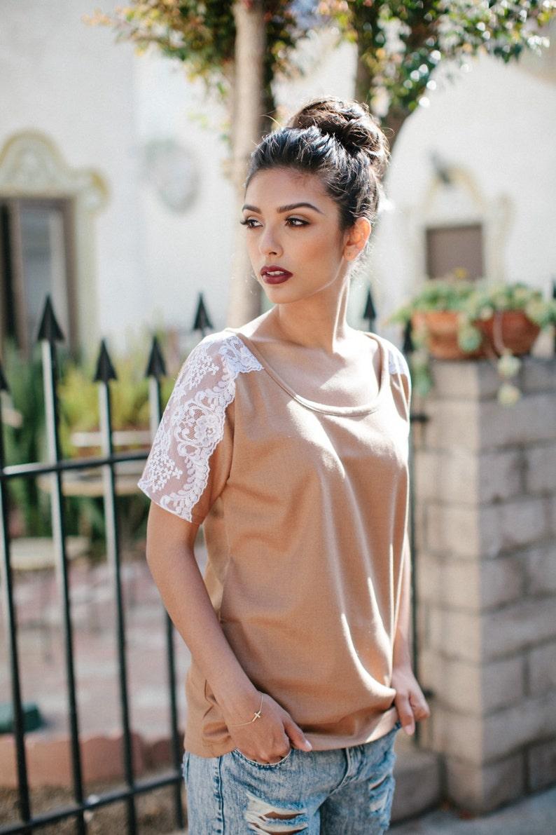 Handmade Womens Blouse Lace Shirt Lace Shirt Camel Tops image 0