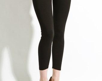 """Leggings Cotton Black - Premium Stretch Soft Pants  26"""" Made in USA, black leggings, womens leggings, leggings, yoga leggings, basic legging"""
