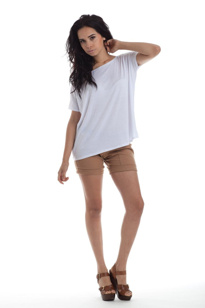 Womens Shirts White Tops Oversized Blouse Made in USA image 0
