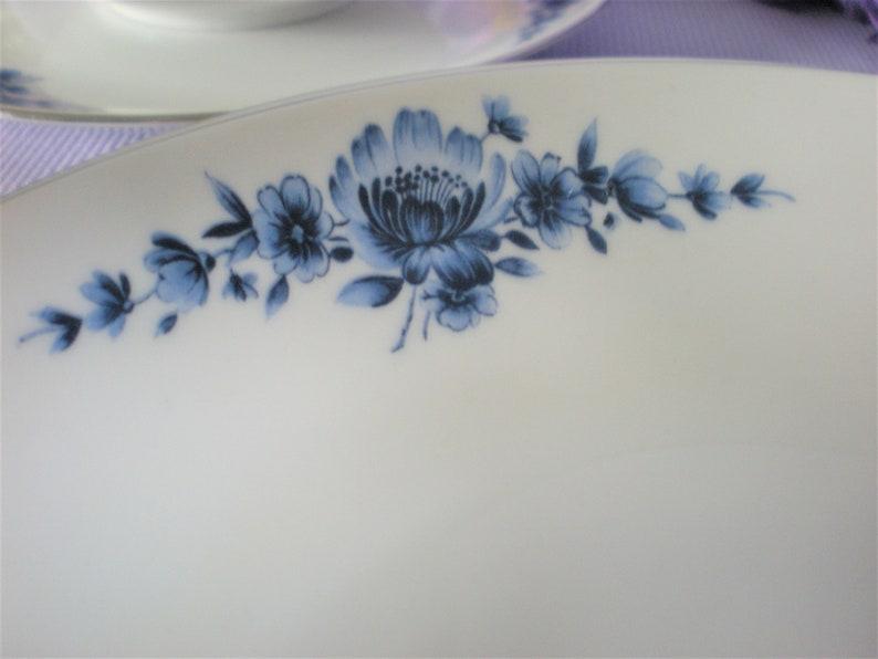 Eschenbach Blue and White China Danish Blue Platinum Trim Soup Bowls Salad Bowls Vintage Fine China
