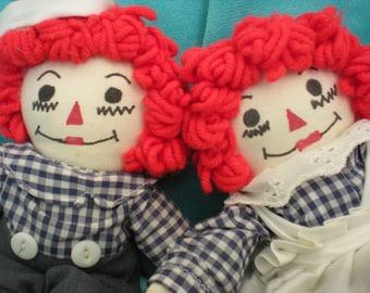 Vintage Raggedy Ann, Rag Dolls, Raggedy Andy,  Handmade Dolls,  Vintage Dolls and Plush