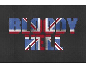 Bloody Hell Union Jack Counted Cross Stitch Pattern Instant Download