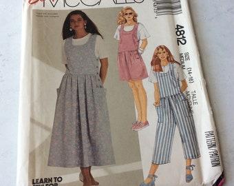 e8fae8936f56e1 Vintage 90s Sewing Pattern Simplicity 4812 Misses Jumper Dress, Romper or  Jumpsuit, Drop Waist Side Button Closure Misses Sizes 14 -16 UNCUT