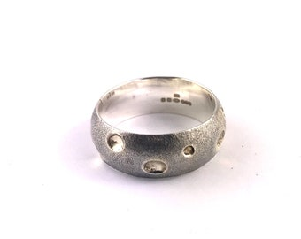 Sterling and 9ct Wide Band polka Dot Ring