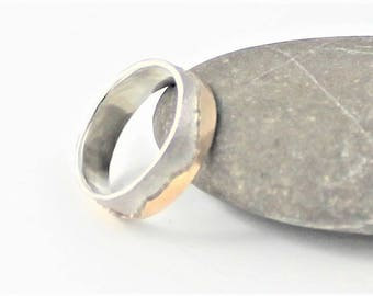 Sterling and 9k gold textured mountains 6mm wedding ring, made to order in your size