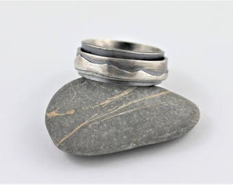 Mountains sterling silver Spin Ring, made to order in your size