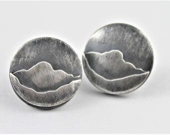 Round Sterling Post earrings, Lake district Mountains