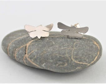 Tiny Tattoo silver Moth Earrings