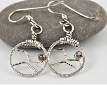 Sterling mountains skeleton earrings with pink amethyst
