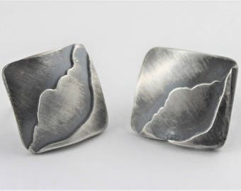 Square Sterling Post earrings, Lake district Mountains,