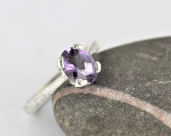 Textured amethyst sterling ring made to order in your size