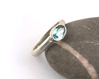 Sterling and 9ct gold Blue Topaz ring in your size
