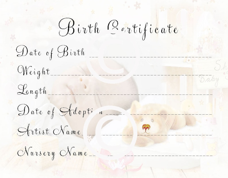 image regarding Printable Birth Certificates named Reborn Boy or girl Doll Delivery Certification Fast Obtain In direction of Print Totally free Send