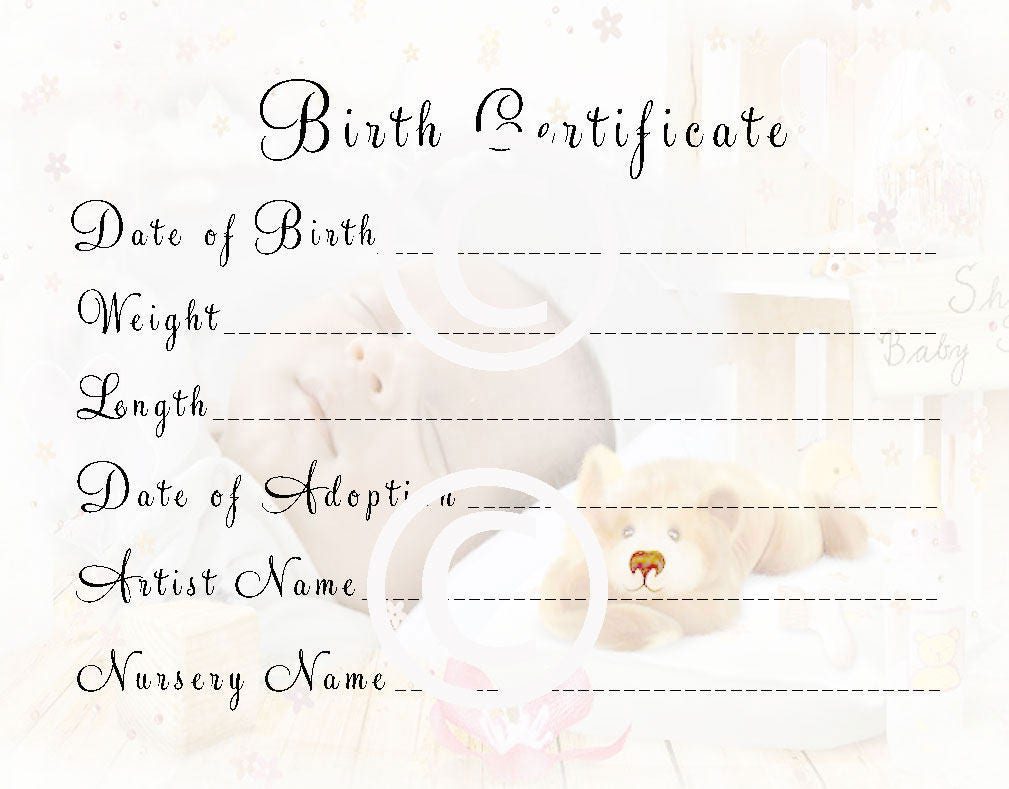 Reborn Baby Doll Birth Certificate Instant Download To Print Etsy