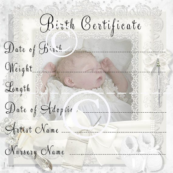Printable Doll Birth Certificate Template