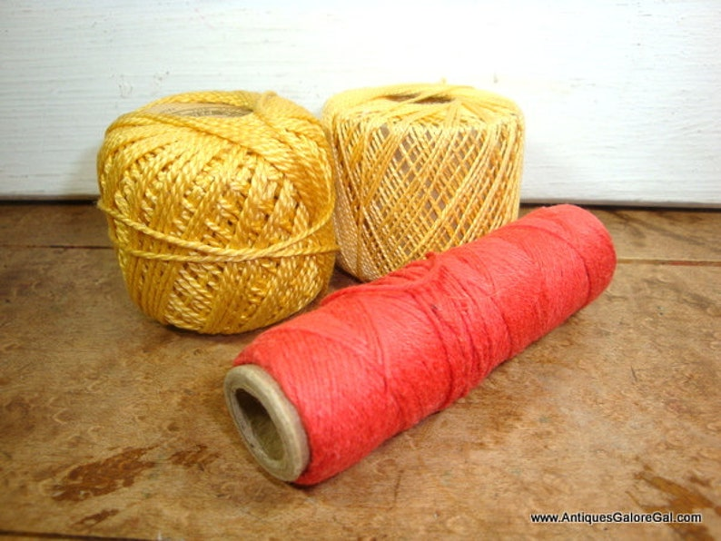 701-15 Crafting Sewing Red Weaving Thread Embroidery Cotton Pearl Silkine Cord Golden Yellow Set of 3 Crochet Needlework Knitting