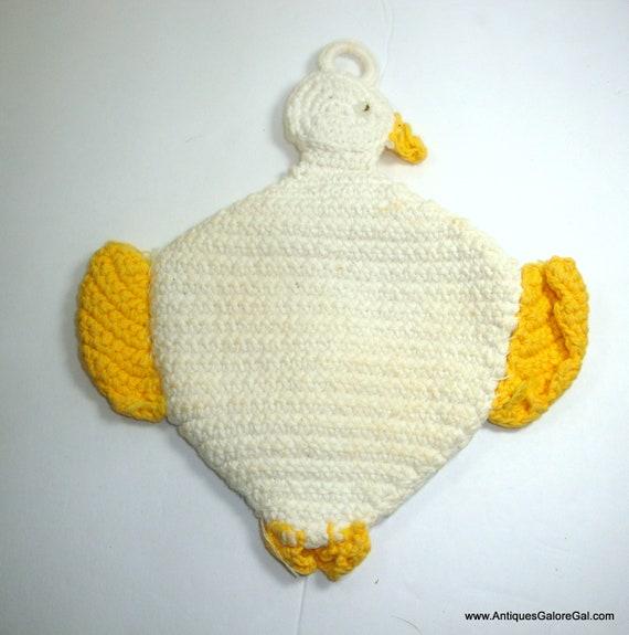 Kitschy Kitchen Decor Vintage Crochet Doll Face Pot Holders-Hot Pads Yellow Retro Kitchen Decor