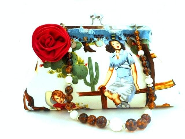 Rockabilly pinup bag,vintage cowgirl,mid century retro,kitschy western bag,evening bag,rockabilly wedding,glitzy western wear,red rose