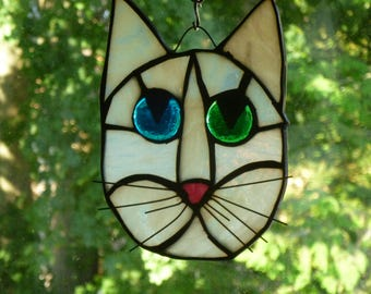 Cat Face Stained Glass  in White Blue and Green Brilliant eyes