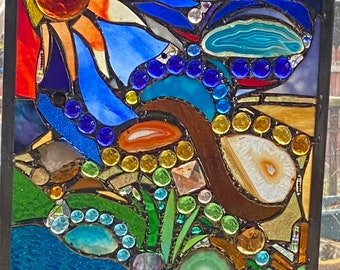 Earth Revisited #6 Art Stained Glass Panel Mixed Media Shells Geodes Aqua turquoise Brazilian Agate Slice