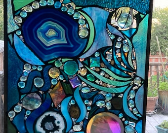 Lost in Turquoise and loving it  No 13 Stained Glass Abstract Art Mixed Media Panel