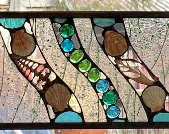 Mini shell Panel Art Stained Glass Panel Mixed Media Shells Aqua turquoise