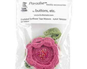 """Flower - Crocheted Tape Measure 60""""/150cm (assorted colors)"""