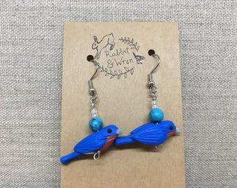 Woodland earrings - Eastern Bluebird