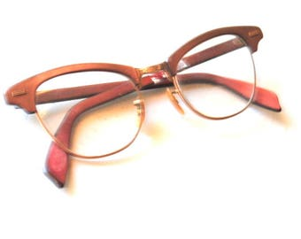5b701cdd7937 Mod vintage 60s, sharp cat eye , optical glasses with 1/10 12k gf frame and  brown lucite. Made by Shuron.