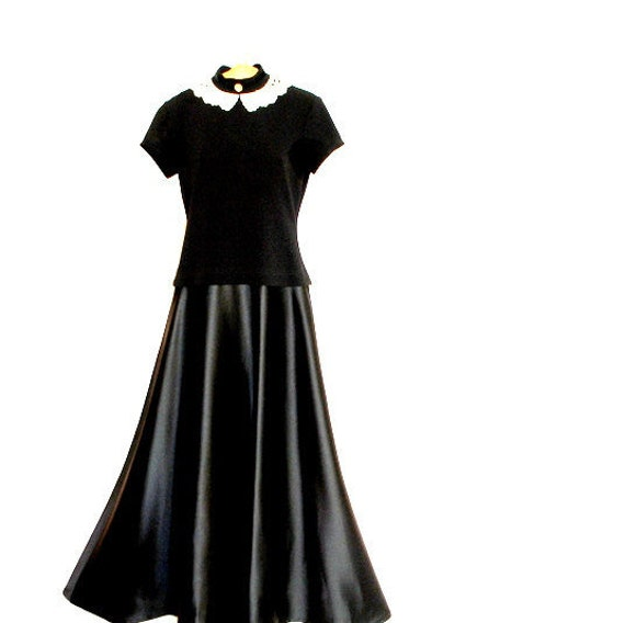 Victorian style vintage 80s black maxi gown with s