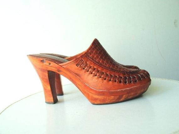 Boho vintage 1970s , genuine leather cognac  brown