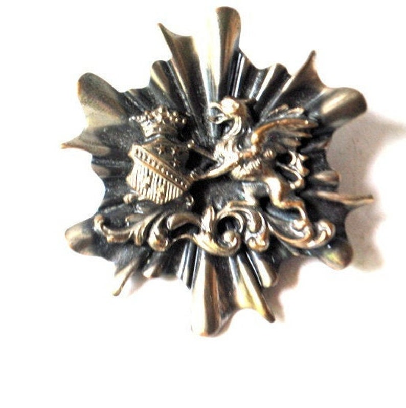 bronze Vintage 70s coat off arm pin. shield brooch griffin
