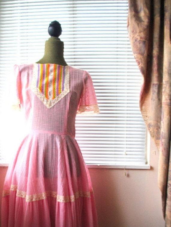 Boho vintage 70s pink crinkled  cotton  summer dr… - image 4