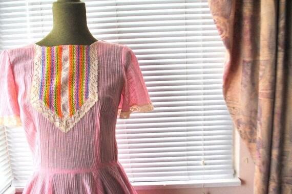 Boho vintage 70s pink crinkled  cotton  summer dr… - image 3
